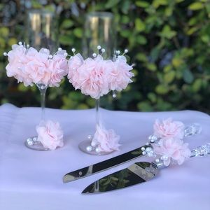 Accessories - Wedding champagne glasses flutes Handmade